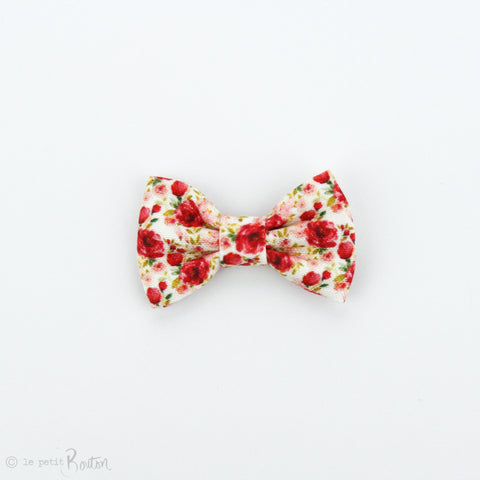 Christmas Small Linen Bow Clip - Christmas Floral