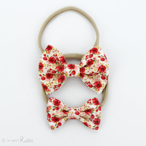 Christmas Small Linen Bow on Nylon Headband - Christmas Floral