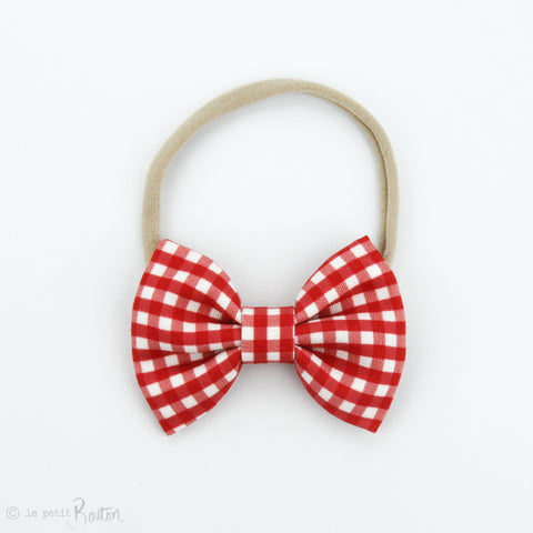 Christmas Large Linen Bow on Nylon Headband - Red Gingham
