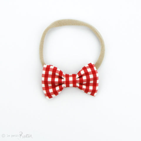 Christmas Small Linen Bow on Nylon Headband - Red Gingham