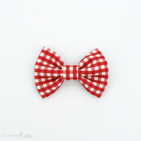 Christmas Large Linen Bow Clip - Red Gingham