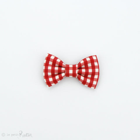 Christmas Small Linen Bow Clip - Red Gingham