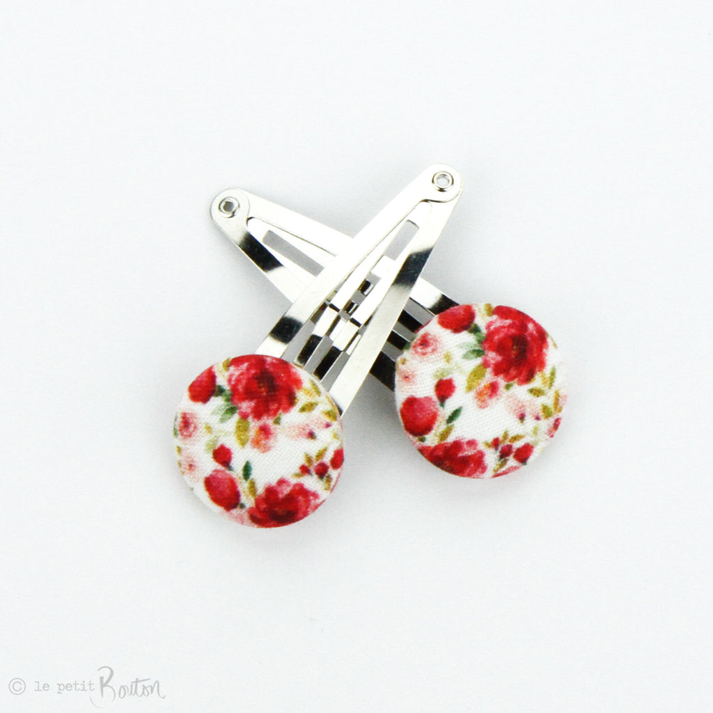 Christmas Linen Covered Button Snap Clip Pair