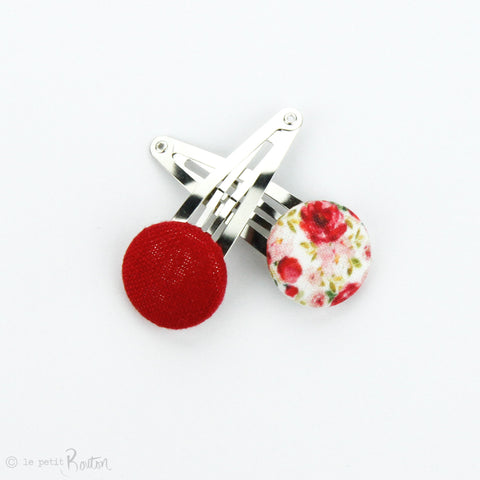 Christmas Linen Covered Button Snap Clip Pair - Christmas Floral
