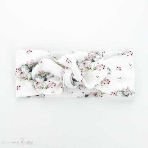Australian Organic Cotton Top Knot Headband - Exclusive Flower Crown Koala