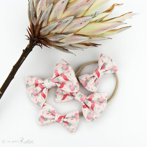 Australian Large Linen Bow on Nylon Headband - Galah