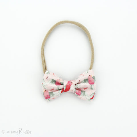 Australian Small Linen Bow on Nylon Headband - Galah
