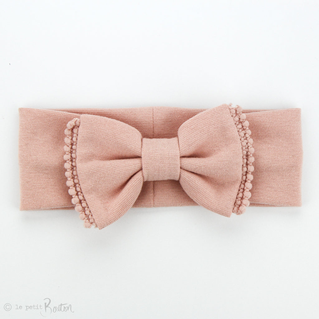 Organic Cotton Double Pom Pom Bow Turban - All Dusty Pink