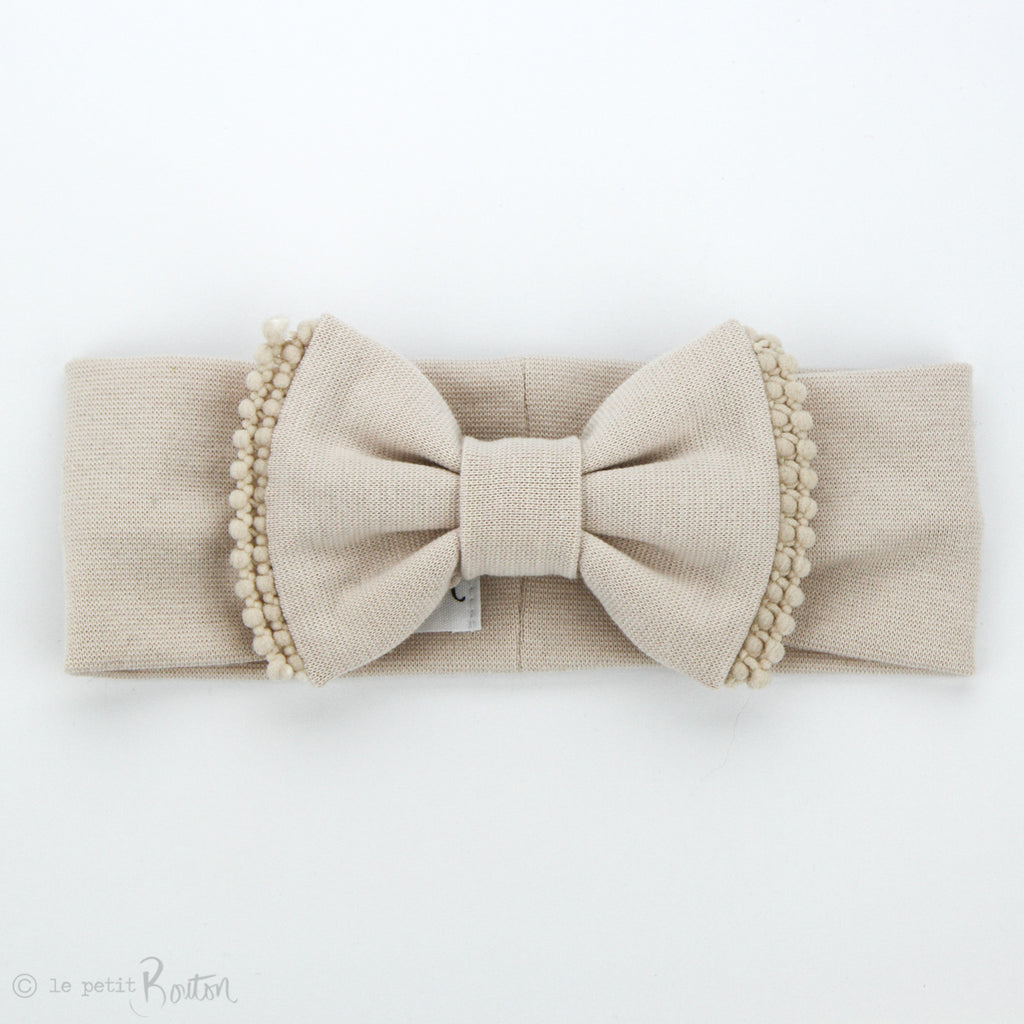 Organic Cotton Double Pom Pom Bow Turban Headband- All Sand