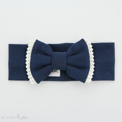 Organic Cotton Double Pom Pom Bow Turban Headband- Light Navy