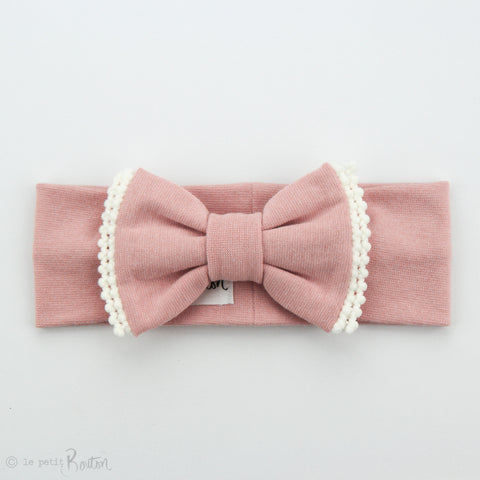 Organic Cotton Double Pom Pom Bow Turban Headband- Dusty Pink