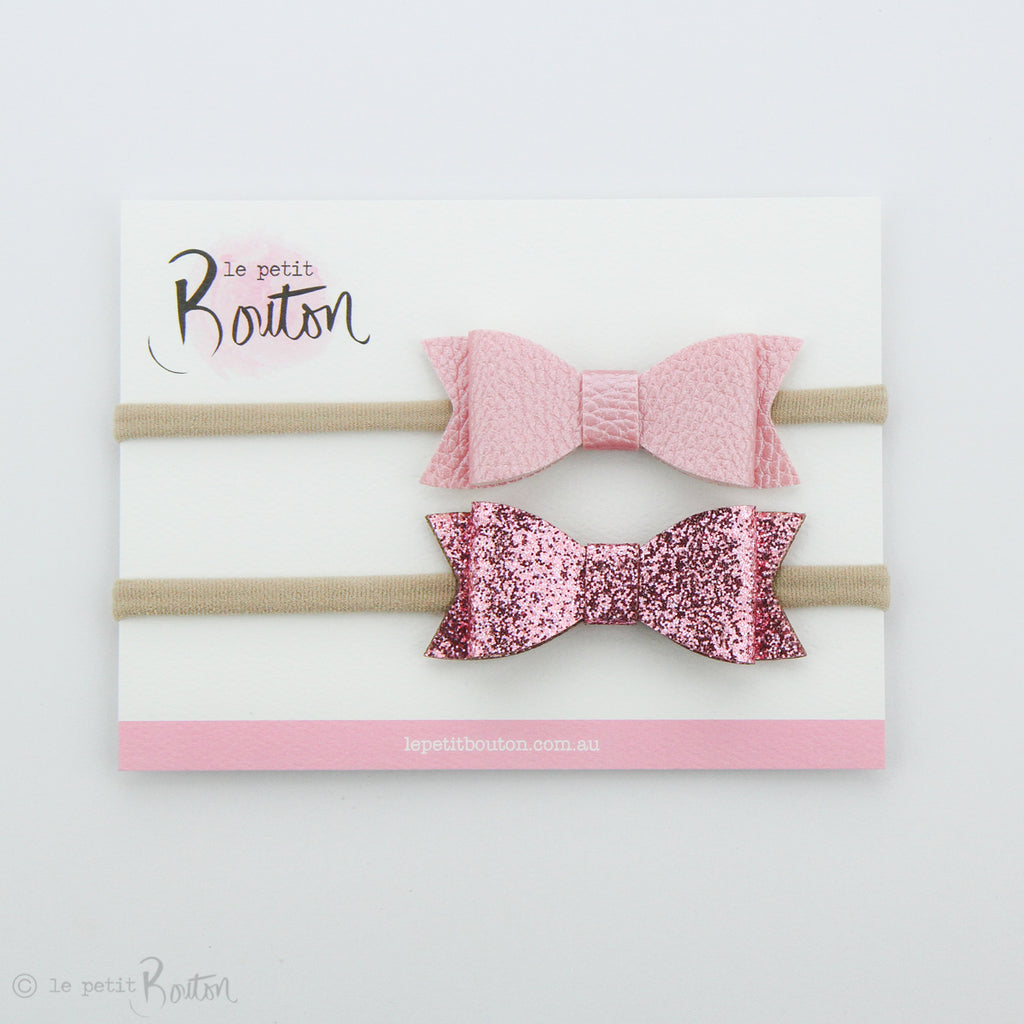 Faux Leather Bow Set on Headbands - Glitter me Pink