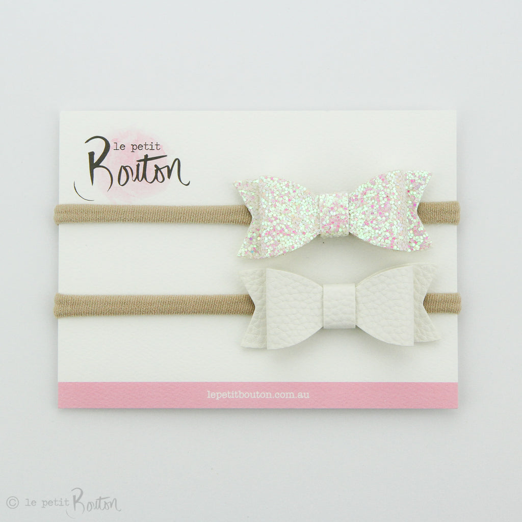 Faux Leather Bow Set on Headbands - Glitter me Snow