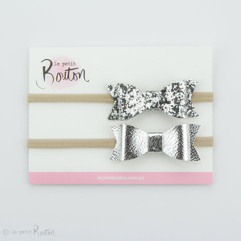 SS18 Faux Leather Bow Set on Headbands - Glitter me Silver