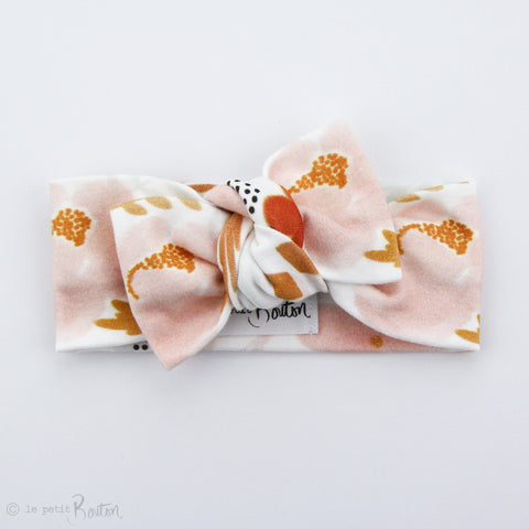 Organic Cotton Bow Knot Headband - Mustard Blush Floral - LAST 1