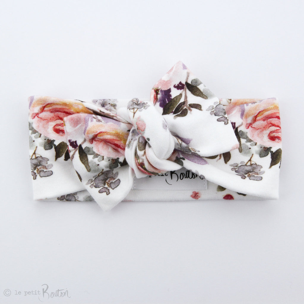 Organic Cotton Bow Knot Headband - Vintage Floral