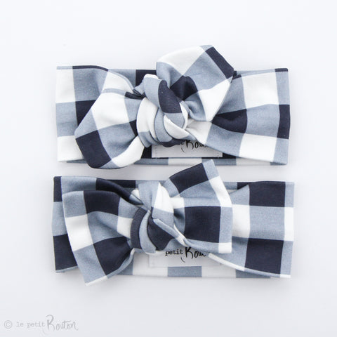 Organic Cotton Bow Knot Headband - Navy Gingham