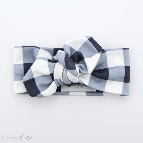 Organic Cotton Top Knot Headband - Navy Gingham