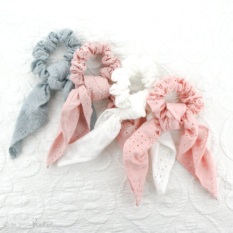Scrunchie - Broderie Anglaise Scarf - Seafoam