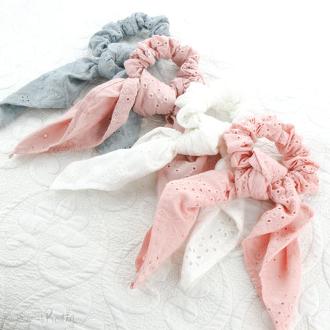 Scrunchie - Broderie Anglaise Scarf - Rose