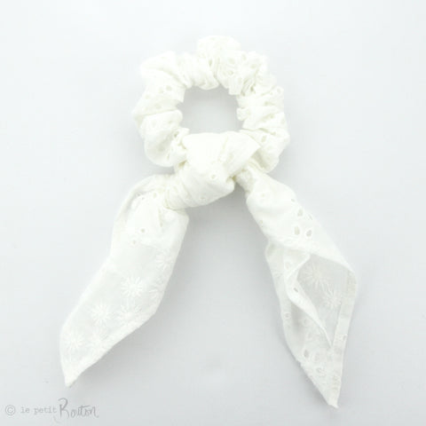 Scrunchie - Broderie Anglaise Scarf - Snow