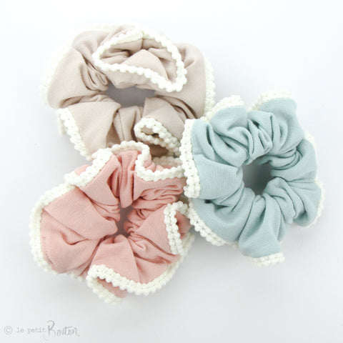 Scrunchie - Organic Cotton with Pom Pom Trim - Sand