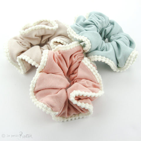 Scrunchie - Organic Cotton with Pom Pom Trim - Dusty Pink