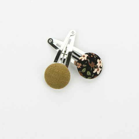 Covered Button Snap Clip Pair - Midnight Floral