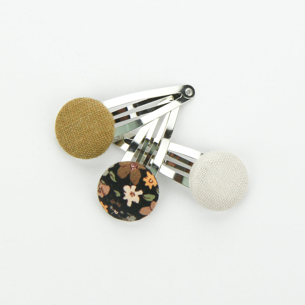 Covered Button Snap Clips - Midnight Floral - Set of 3