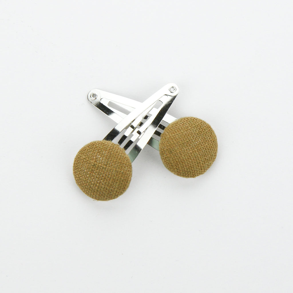 Covered Button Snap Clip Pair - Golden Linen