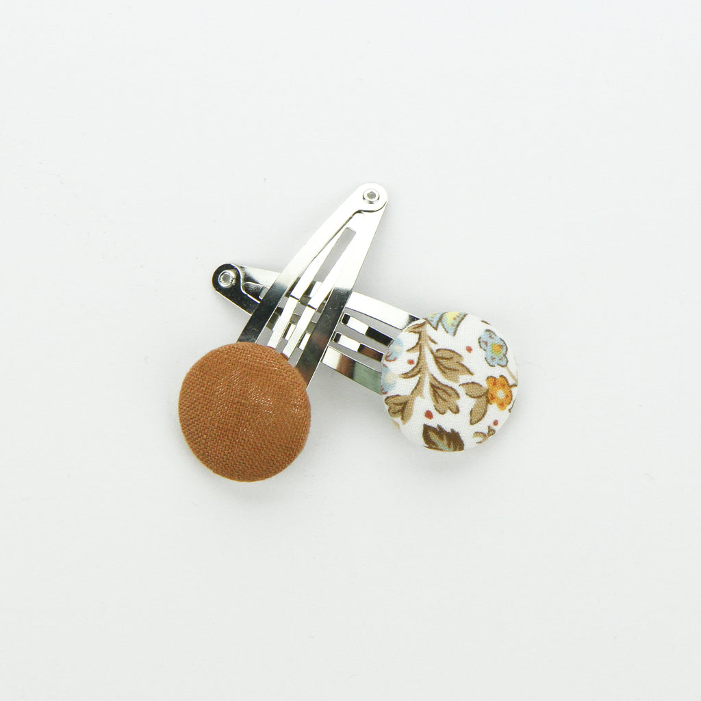 Covered Button Snap Clip Pair - Autumn Breeze