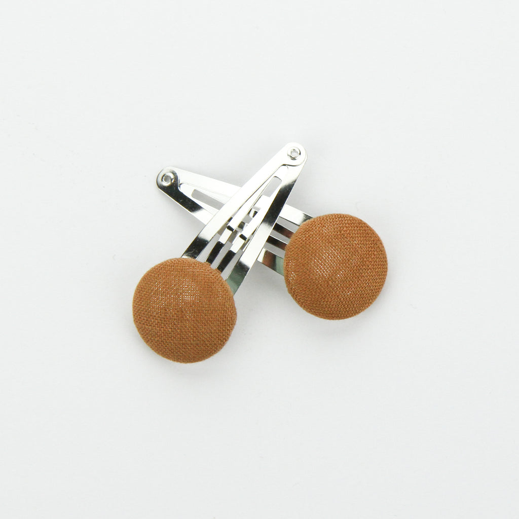 Covered Button Snap Clip Pair - Meerkat Linen
