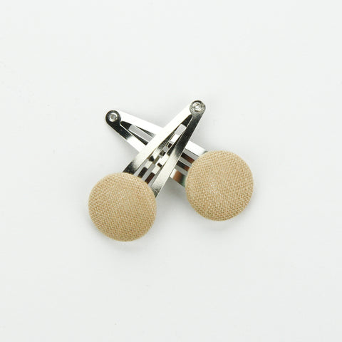 Covered Button Snap Clip Pair - Wheat Linen