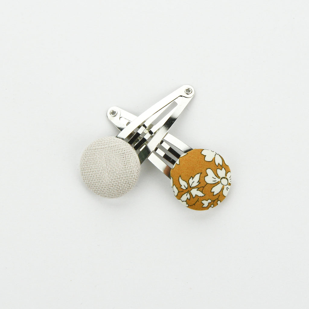 Covered Button Snap Clip Pair - Mustard Floral - Liberty Print