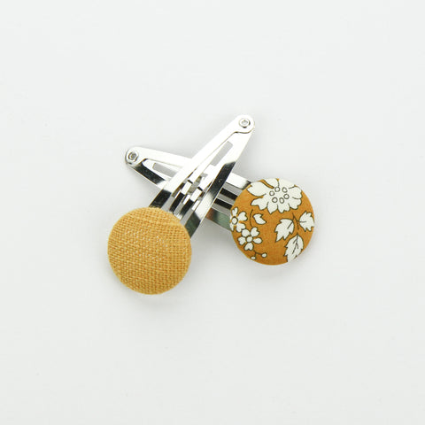 Covered Button Snap Clip Pair - Mustard Floral - Liberty of London Fabric
