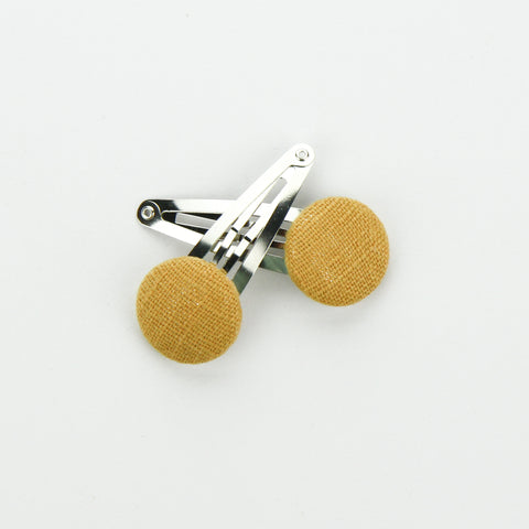 Covered Button Snap Clip Pair - Mustard Linen