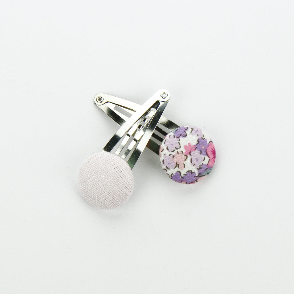 Covered Button Snap Clip Pair - Lilac Floral
