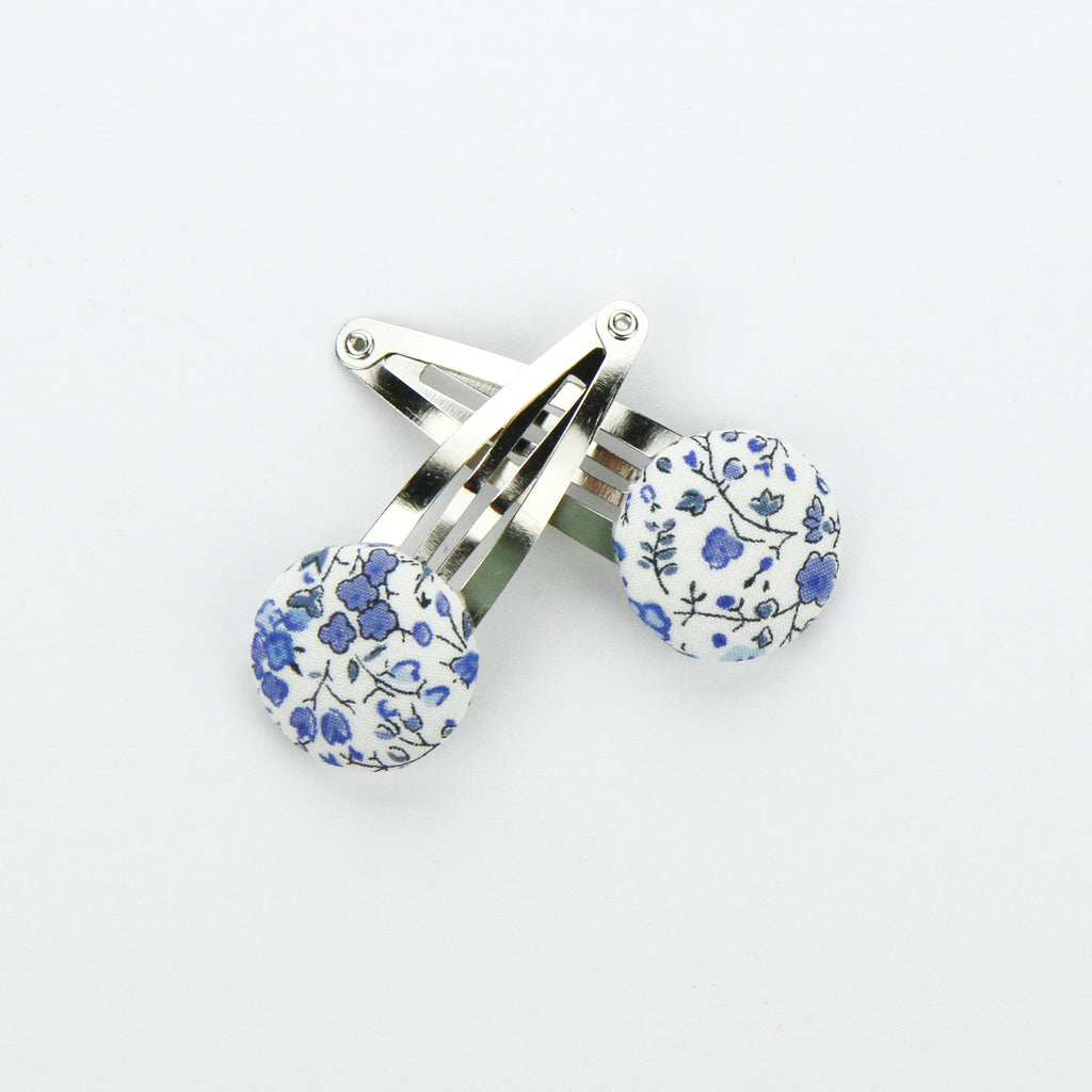 Covered Button Snap Clip Pair - Blue Hughs