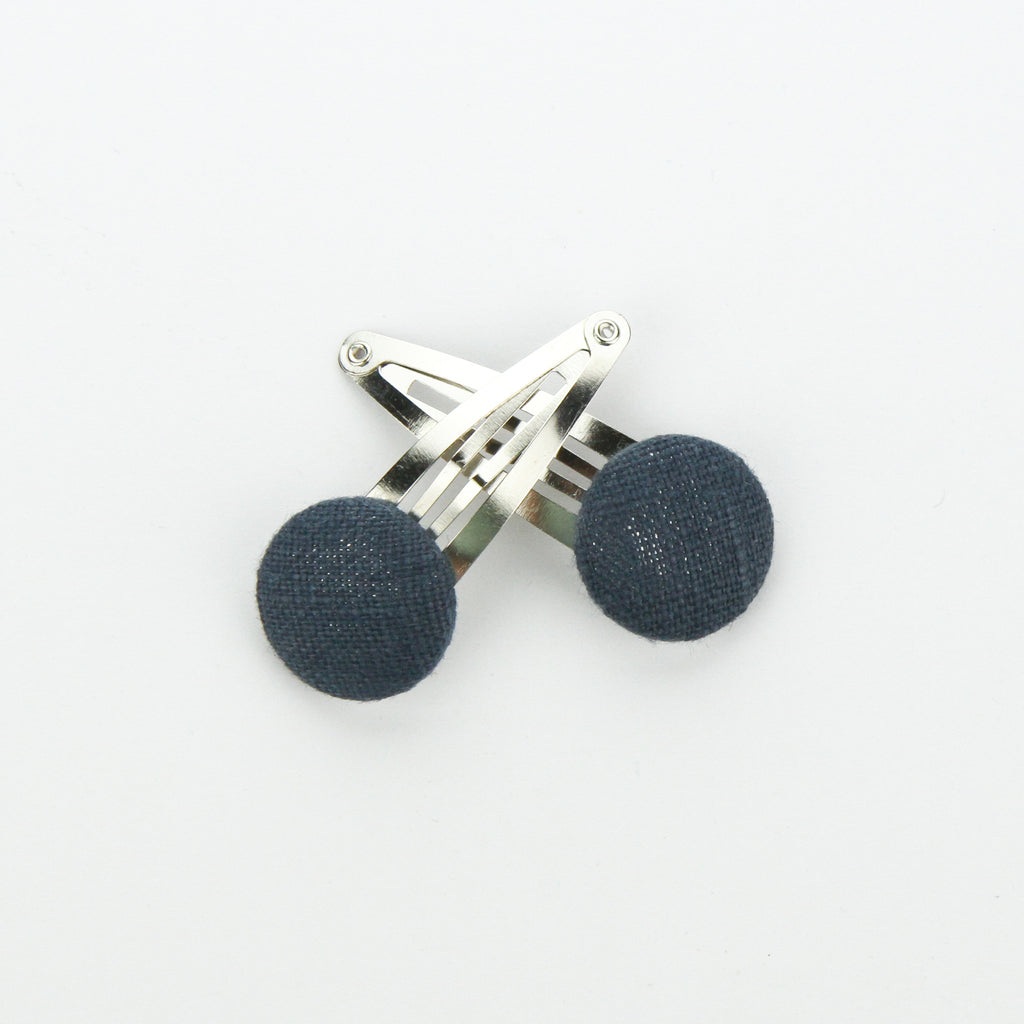 Covered Button Snap Clip Pair - Washed Navy Linen