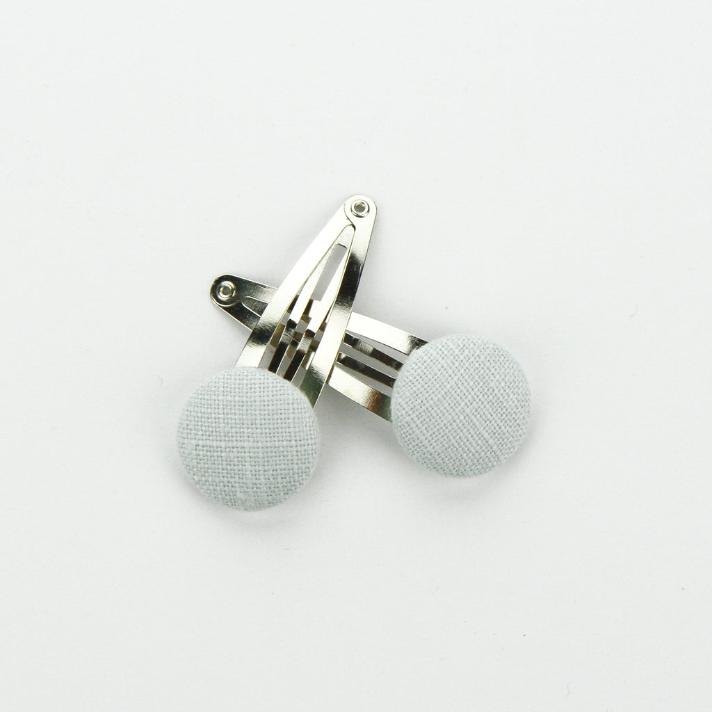 Covered Button Snap Clip Pair - Ice Blue Linen