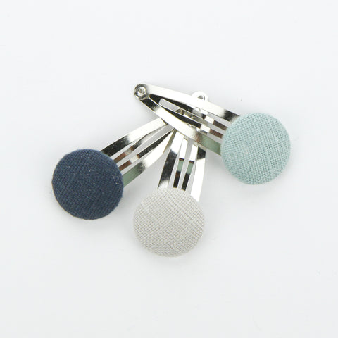 Covered Button Snap Clip Pair - Cool Hughs - Linen - Set of 3