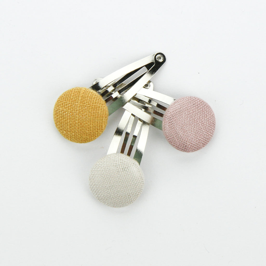 Covered Button Snap Clip Pair - Must Have - Linen Set of 3