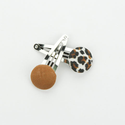 Covered Button Snap Clip Pair - Wild Child