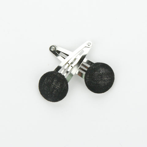 Covered Button Snap Clip Pair - Black Linen