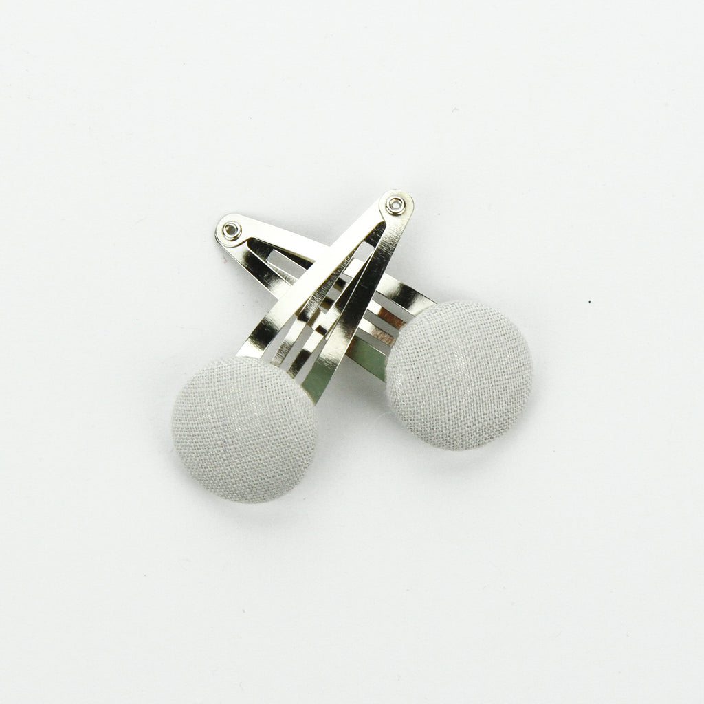 Covered Button Snap Clip Pair - Cloud Linen