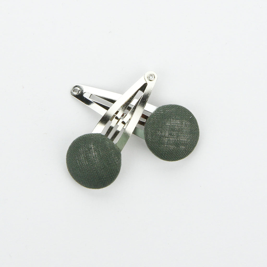Covered Button Snap Clip Pair - Olive Linen