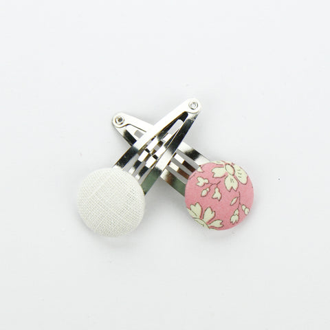 Covered Button Snap Clip Pair - Liberty Of London Fabric