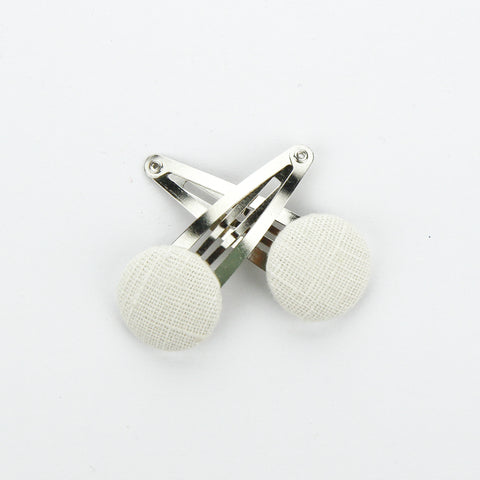Covered Button Snap Clip Pair - Natural Linen