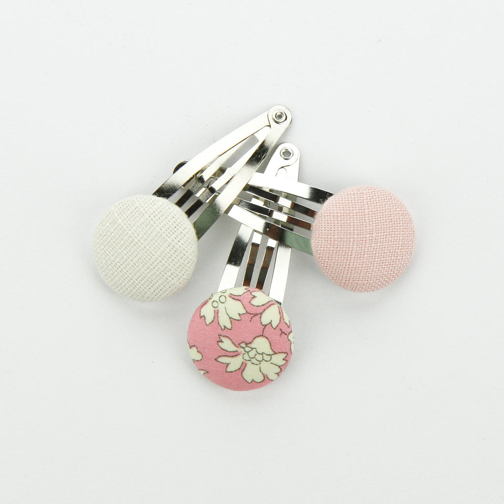 Covered Button Snap Clip Pair - Liberty Of London Fabric - Set of 3
