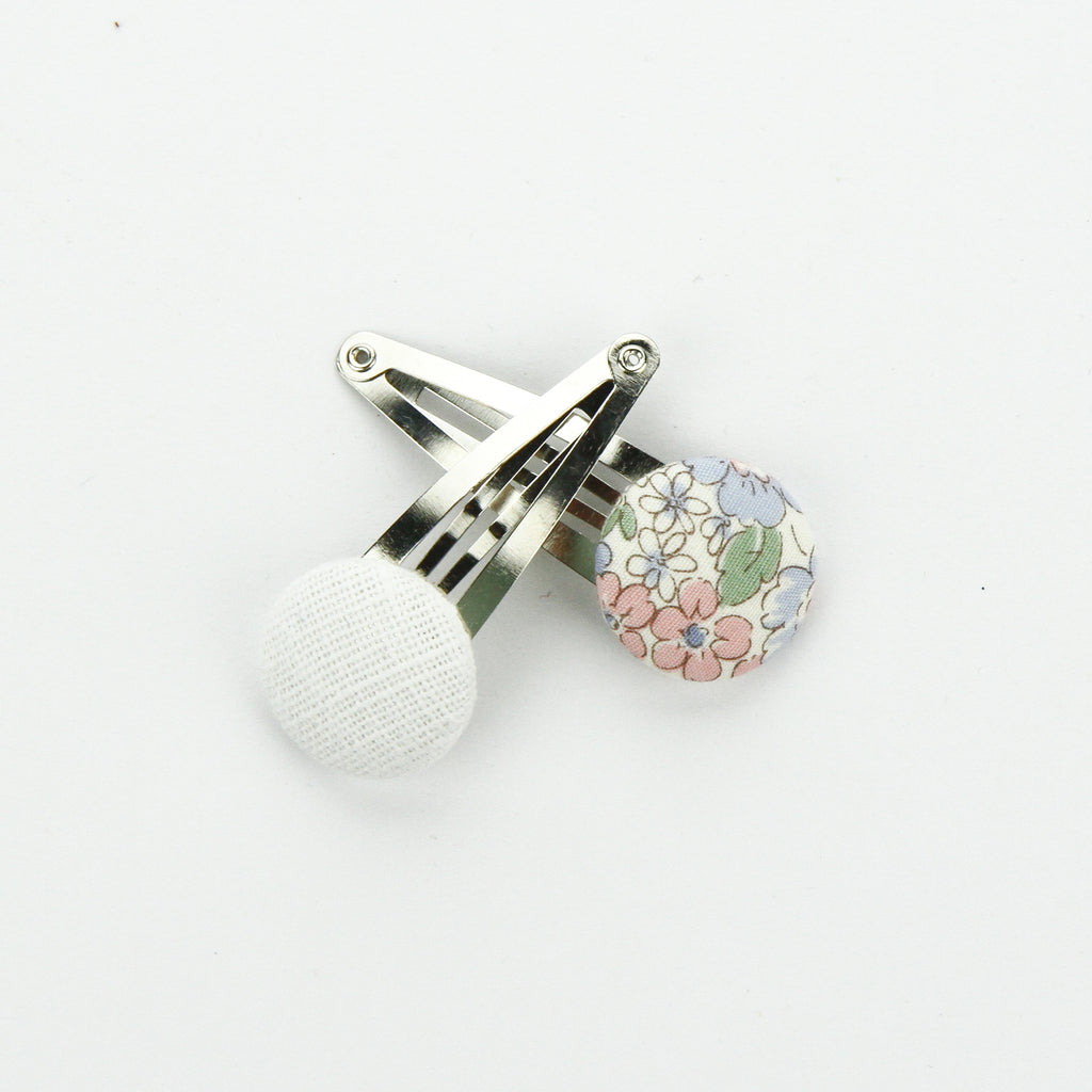 Covered Button Snap Clip Pair - Pretty Floral